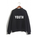 Womens Popular YOUTH Letter Printed Long Sleeve Mock Neck Loose Pullover Sweatshirt