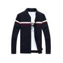 Mens Casual Stripes Pattern Long Sleeve Zip Up Slim Fit Simple Knitted Jacket Cardigan
