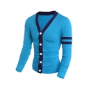 Mens Stylish Double Striped Print Single Sleeve Button Up Slim Fitted Leisure Cardigan