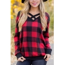 Womens Classic Plaid Pattern Crisscross V-Neck Long Sleeve Fitted Top T-Shirt