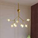 9/27/36/45/54 Lights Star Chandelier with Branch Design Mid Century Modern Metal Hanging Pendant Light in Gold