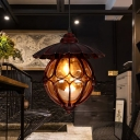 Industrial Global/Ring Hanging Light Cognac Glass Shade Kitchen Pendant Lighting with 23.5