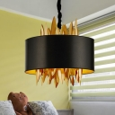 Drum Fabric Chandelier Lamp Traditional 4 Lights Dining Room Pendant Lighting in Black with Metal Leaves