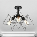 Metal Caged Semi-Flush Mount Light Farmhouse Style 3 Bulbs Black Semi Mount Lighting for Living Room