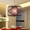 Rust Geometric Suspension Lamp Classical Metal 1 Light Dining Room Pendant Lighting Fixture