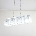 Cubic Island Lamp Contemporary Crystal Block 4 Heads Chrome Hanging Ceiling Light