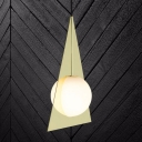 Gold Triangle Pendant Lighting Modern 1 Head Metal Hanging Ceiling Light with Globe White Glass Shade
