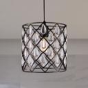 Industrial Cylinder Pendant Lighting with Crystal Drop 1/4/6 Lights Metal Wire Chandelier Lamp in Black