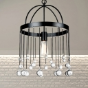 1-Light Ring Hanging Pendant Light Industrial Metal Foyer Suspension Lamp in Black with Crystal Ball