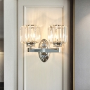 2 Bulbs Cylindrical Wall Light Sconce with Clear Crystal Vintage Chrome Finish Wall Mounted Lighting