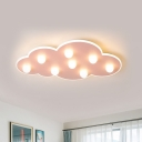 Blue/Pink/White Cloud Flush Ceiling Light Macaron Metal 8-Led Ceiling Mounted Light for Kids Bedroom