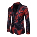 Guys Cool Ink Painting Print Notched Collar Long Sleeve One Button Slim Fitted Casual Suit