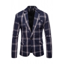 Mens Classic Checked Print Long Sleeve Notch Collar Slim Fitted Casual Blazer