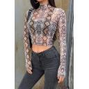 Stylish Street Women's Long Sleeve Mock Neck Semi-Sheer Snake Print Mesh Crop T Shirt