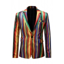 Mens Colorful Striped Printed Notched Collar Single Button Flap Pocket Casual Blazer