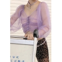 Cute Girls' Long Sleeve Square Neck Pearl Button Down Ruched Purple Mesh Crop Top