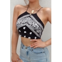 Bohemia Style Sleeveless Halter Cut Out Back Mixed Patterned Black Slim Crop Tank Top for Women