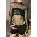 Sexy Female Glove Sleeve Mock Neck Dragon Print See-Through Mesh Slim Fit Bodysuit for Nightclub