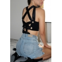 Cool Fashion Girls' Sleeveless Round Neck Strappy Hollow Lace Up Black Crop Tank Top for Club