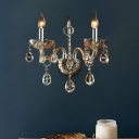 Modern Candle Wall Lamp Amber Glass 1/2 Heads Living Room Sconce Light with Crystal Drip Accent