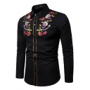 Mens Trendy Embroidered Rose Skull Printed Long Sleeve Contrast Stitching Button Up Tribal Shirt