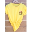 Summer New Fashion Pocket Sloth with Christmas Hat Short Sleeves Crew Neck Loose T-Shirt