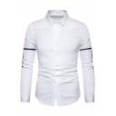 Mens Hot Popular Stripes Splicing Long Sleeve Single Breasted Casual Fitted Shirt