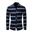 Mens Exclusive Geometric Pattern Long Sleeve Single Breasted Fitted Casual Shirt