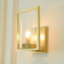 Cylinder Living Room Wall Sconce Colonialism Clear Glass 1-Light Brass Wall Lighting Fixture