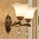 Modern Floral Sconce Light 1/2 Bulbs Metal Wall Mount Lighting in Brass with Opal Glass Shade