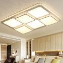 LED Crystal Flush Mount Lighting Fixture Modern White Square Living Room Close to Ceiling Light in White/Warm Light