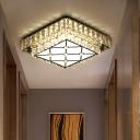 LED Hallway Flush Mount Light Modernist Square Clear Crystal Ceiling Light Fixture
