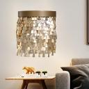 Aluminum Gold Wall Lamp Sequin Flake 2-Light Modernist Flush Mount Wall Lighting
