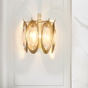 Golden Oval Wall Sconce Colonial Style Brass and Crystal 1 Bulb Wall Lighting Fixture