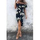 Elegant Ladies' Short Sleeve Off The Shoulder Ruffled Trim Floral Pattern Slit Front Asymmetric Midi Bodycon Dress