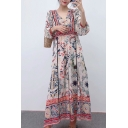 Fancy Ethnic Girls' Long Sleeve Deep V-Neck Floral Patterned Scalloped Pleated Maxi A-Line Dress in Apricot