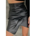 Girls' Black Cool High Waist Slit Front Zipper Back Asymmetric Leather Short Tight Wrap Skirt for Party