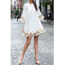 Street Trendy Ladies' Bell Sleeve Macrame Trim Plain Short Swing Dress