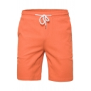 Mens Outdoor Training Candy Color Drawstring Waist Casual Flat Front Shorts