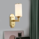 1/2-Light Wall Light Sconce with Cylindrical Shade Opal Glass Wall Mount Lighting in Brass for Bedroom
