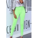 Cool Street Girls' High Waist Neon Color Plain Skinny Fit Jeans for Club