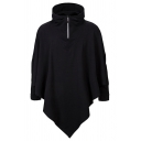 Mens Casual Plain Black Half Placket Asymmetric Hem Loose Hooded Hoodie Cloak