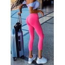 Pink Sport High Rise Stretchy Cotton Ankle Length Skinny Leggings for Jogger Girls