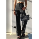 Formal Trendy Women's High Waist Stripe Print Full Length Flared Pants in Black