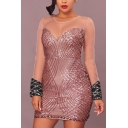 Hot Fashion Sheer Mesn Patch Sequin Embellished Plunge V Neck Long Sleeve Bodycon Mini Dress