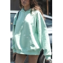 Womens Fashionable Plain Light Green Long Sleeve Casual Oversized Hoodie
