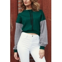 Womens Leisure Fashion Colorblock Long Sleeve Outdoor Cropped Drawstring Hoodie