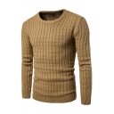 Mens Casual Plain Long Sleeve Crew Neck Slim Fit Cable Knitted Pullover Sweater
