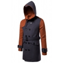 Mens Hot Fashionable Colorblock Panel Long Sleeve Double Breasted Longline Hooded Wool Pea Coat