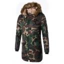 Mens Popular Camo Printed Long Sleeve Hidden Zip Closure Longline Thick Down Coat Outdoor Parka